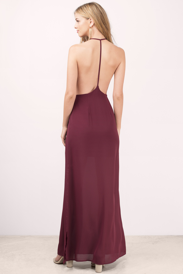 Sexy Wine Dress - Exposed Back Dress - Full Dress - Maxi Dress - $28
