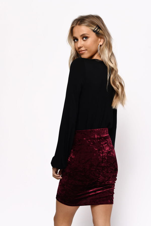 809d535fe Red Skirt - Ruched Bodycon Skirt - Red Velvet Mini Skirt - $9 | Tobi US