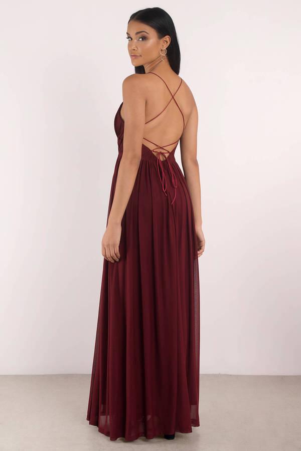 Wine Dress - Pleated Dress - Deep V Dress - Sweep Dress - Maxi Dress ... a885d5548