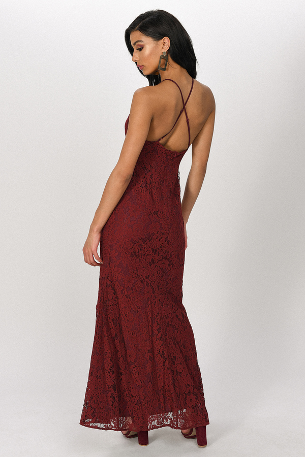 15e882e3f1 Burgundy Maxi Dress - Lace High Neck Maxi - Burgundy Formal Gown ...
