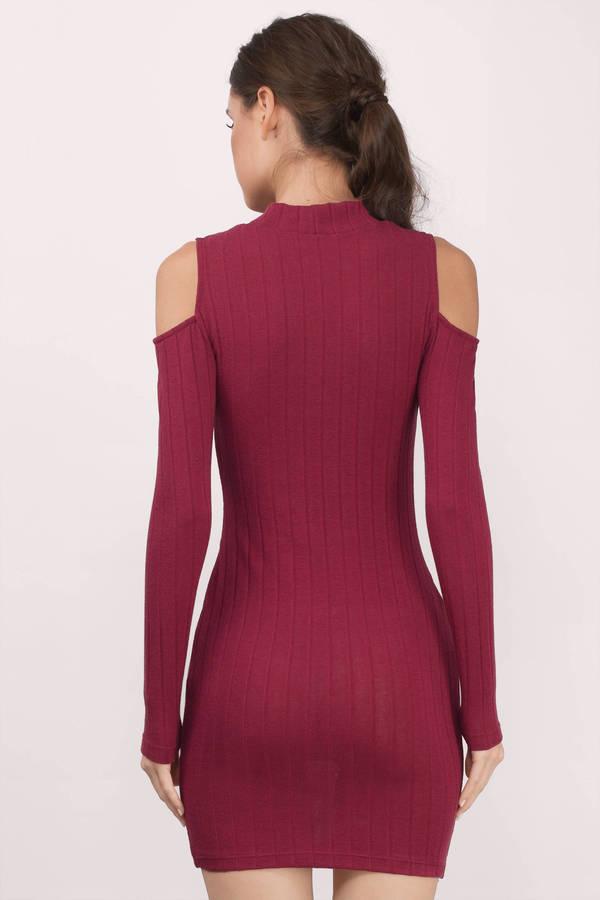 05428475782 Wine Bodycon Dress - Red Dress - Long Sleeve Dress - Wine Bodycon ...