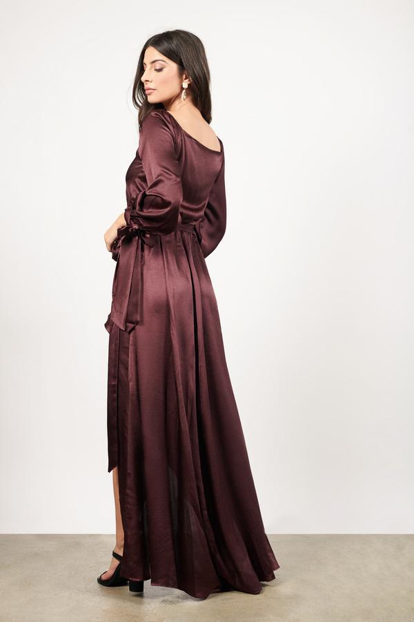 98c0253c74e9 Burgundy Satin Dress - Satin Drape Dress - Burgundy High Low Wrap ...