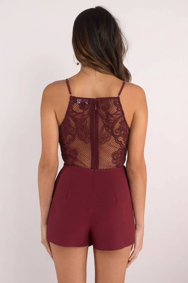 02e93b8aa6a7 Wine Romper - Lace Romper - Wine Cami Romper - Going Out Romper ...