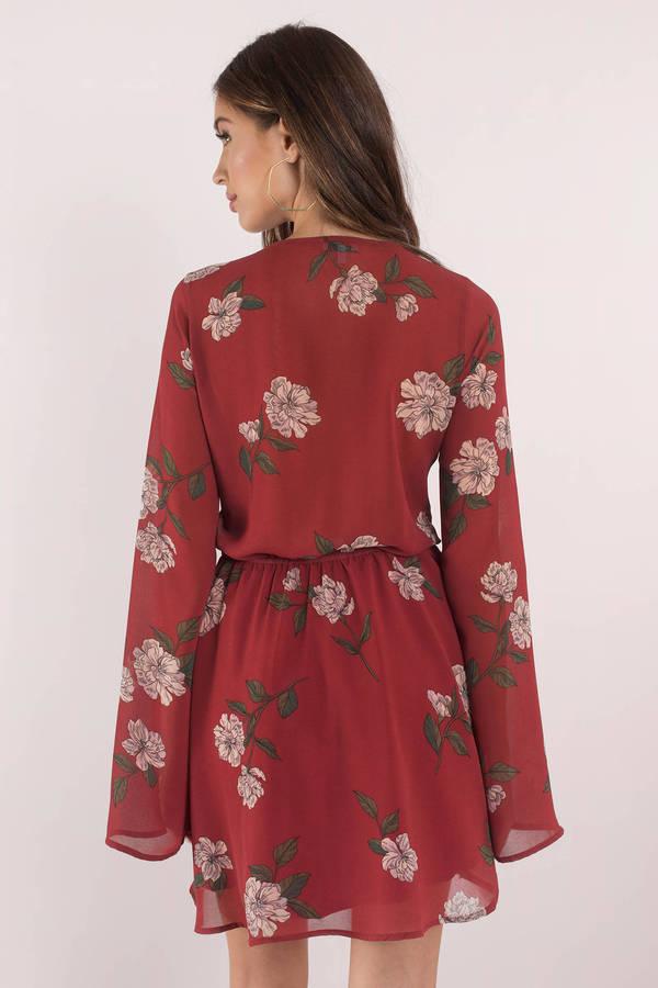 5e4f4b33f28a Sexy Burgundy Skater Dress - Long Sleeve Dress - Burgundy Floral ...