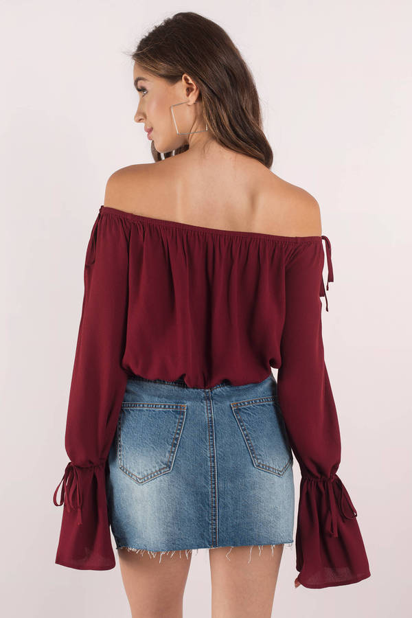 992c34fb4 Cute Top - Off Shoulder Top - Bell Sleeve Top - Wine Blouse - $16 ...