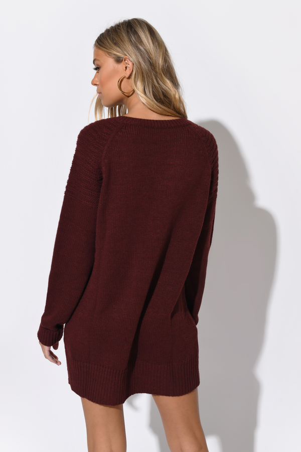 Never Forget You Lace Up Sweater Dress