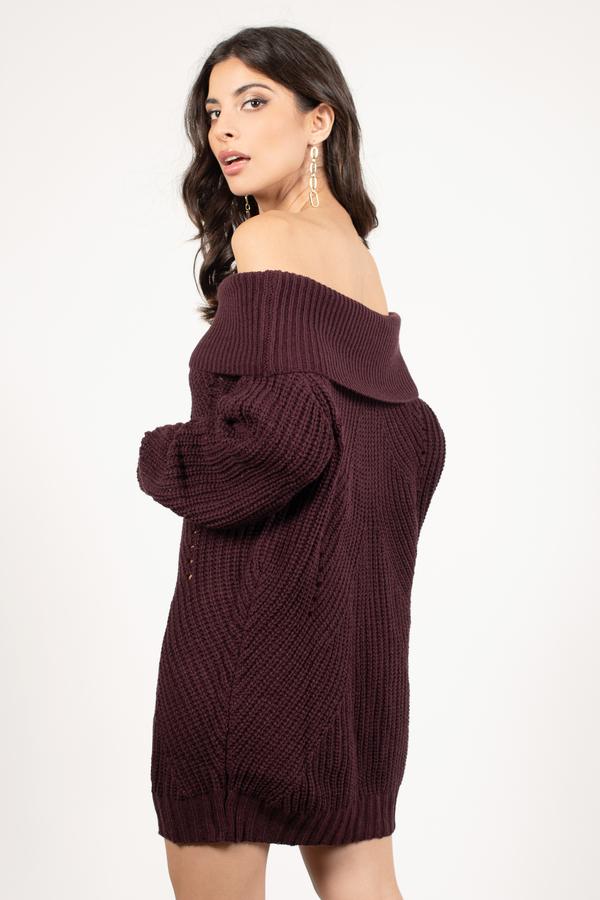 Cute Wine Dress - Off Shoulder Dress - Long Sleeve Dress -  35  eeaedd712