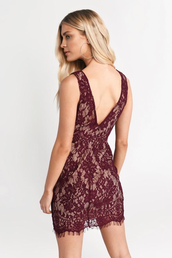 fdd1eed70802 Wine Bodycon Dress - Strappy Dress - Wine Lace Mini Dress - Holiday ...