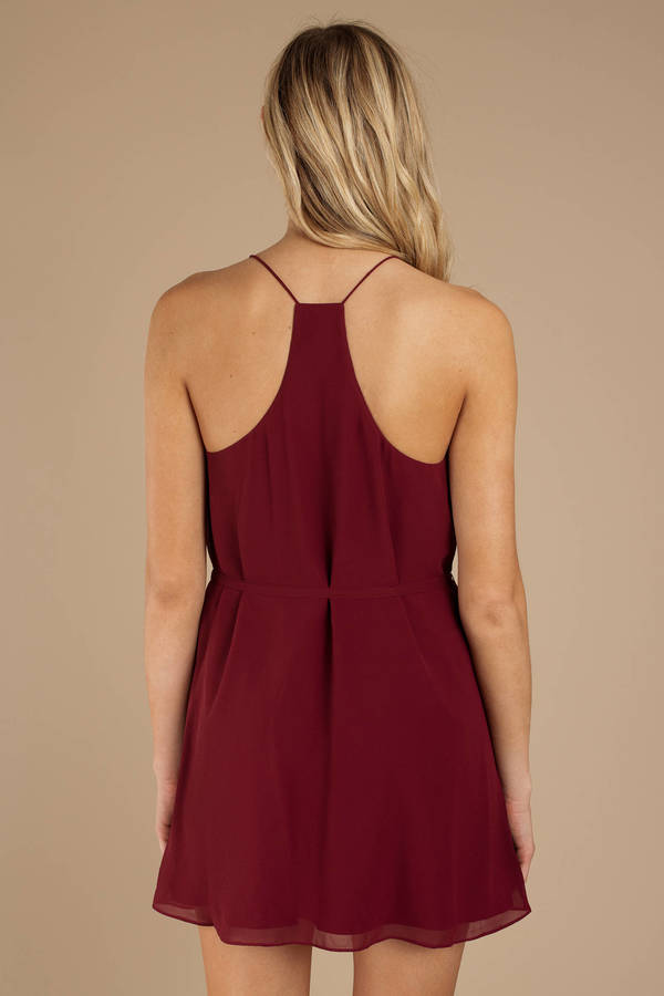 1b63ecc221 Wine Dress - Racerback Dress - Wine Front Tie Dress - Cocktail Dress ...