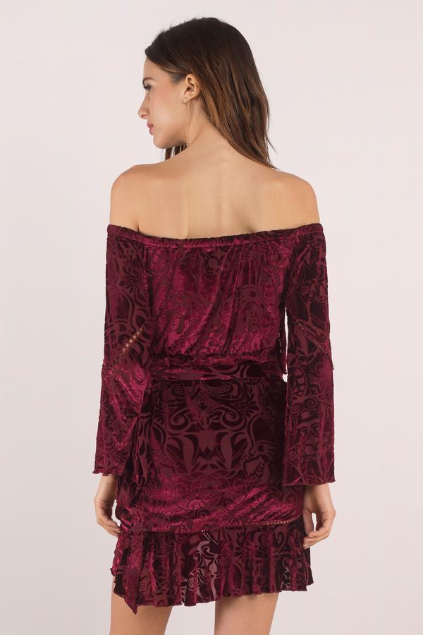 Chic Wine Wrap Dress - Winona Off Shoulder Dress - Velvet Wrap Dress ... c814f235d