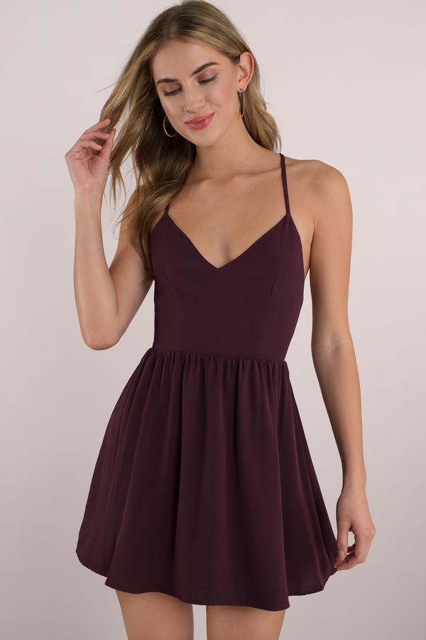 4c93356328 Black Skater Dress - Open Back Dress - Black Dress - Black Flare ...