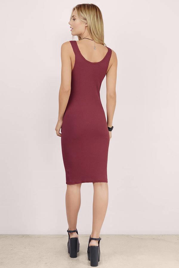 Cute Wine Bodycon Dress Sleeveless Dress Bodycon Dress