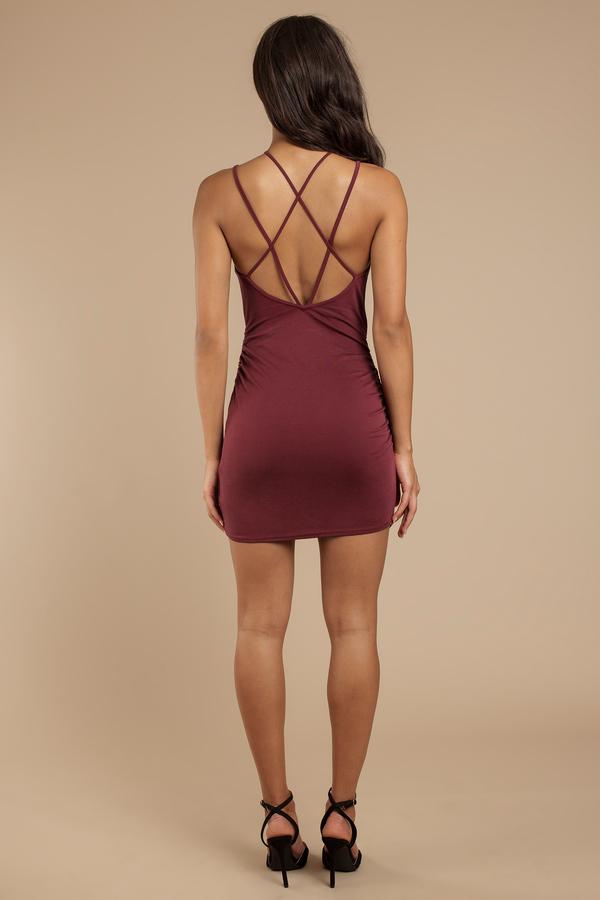 c4b9abe32 Wine Bodycon Dress - Criss Cross Mini Dress - Wine Wrap Bodycon ...