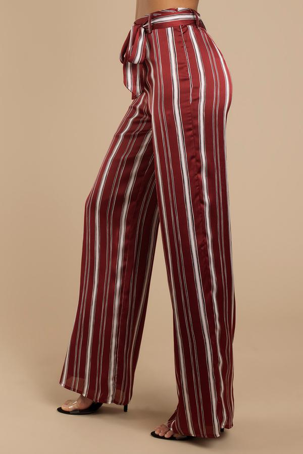 e68c61a6976 Wine Pants - Striped Front Tie Pants - Wine Wide Leg Pants -  34 ...