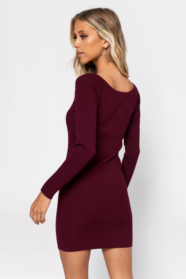 09d1c7e3932 Red Bodycon Dress - Ribbed Sweater Dress - Red Button Down Dress ...