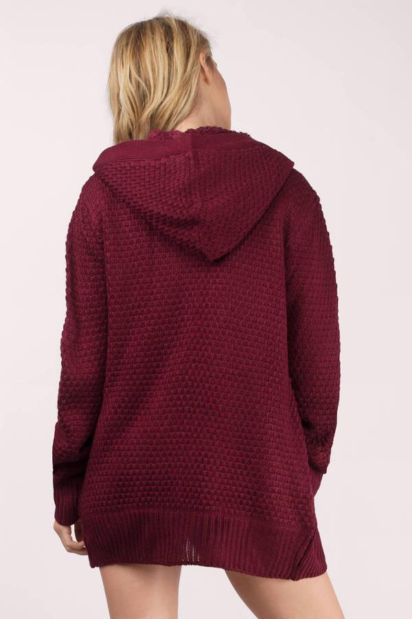 Wine Cardigan - Hooded Cardigan - Button Up Cardigan - Sherpa ...