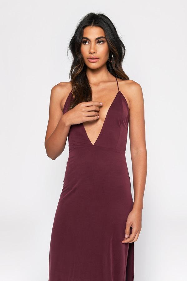 872a4ab1f2 Sexy Wine Dress - Strappy Back - Plunging Neckline - £43