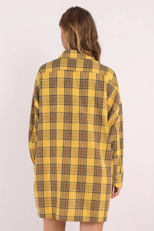 4eb155373b3 Yellow Casual Dress - Plaid Shirt Dress - Yellow Plaid Flannel Shirt ...