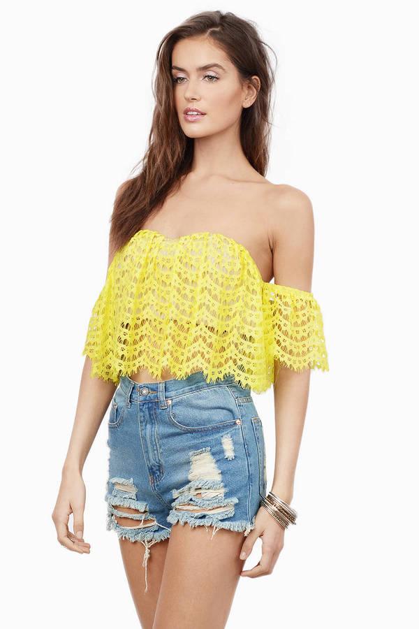 2ee08dab8b6b82 Yellow Crop Top - Crochet Crop Top - Off Shoulder Crop Top - Yellow ...