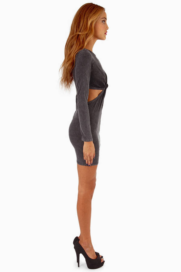 Nodded Front Bodycon Dress