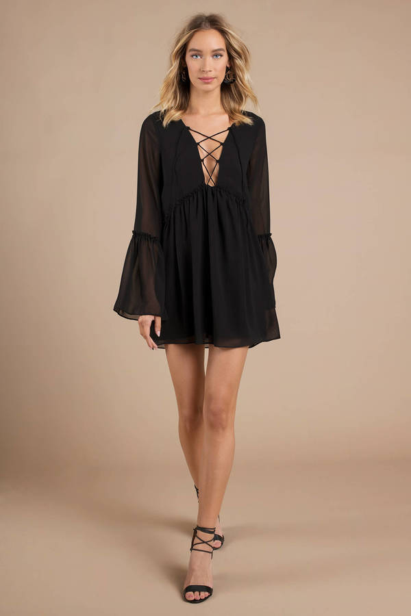 Black Shift Dress Flowy Sheer Dress Long Sleeve Black Dress