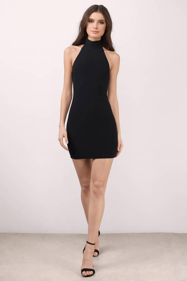 Black Dress Cut Out Dress Sleeveless Mock Neck Dress