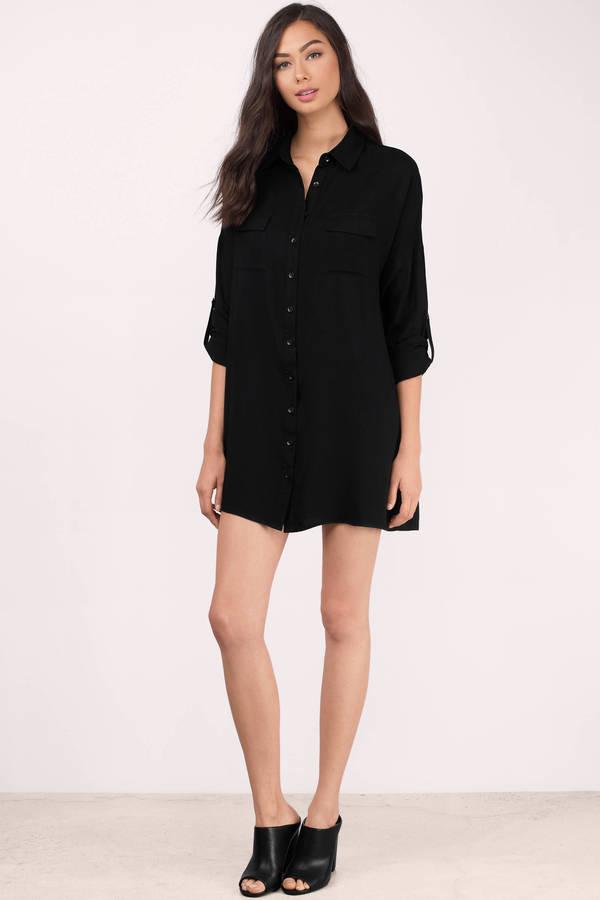 Black button up dress long sleeve