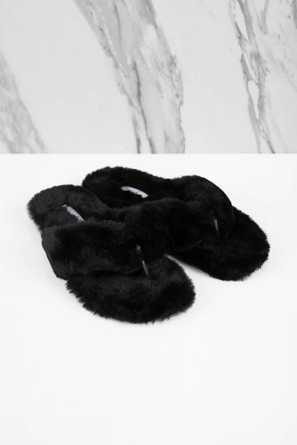 89ab412f5 Black Sandals - Furry Slip Ons - Black Thong Sandals - £17