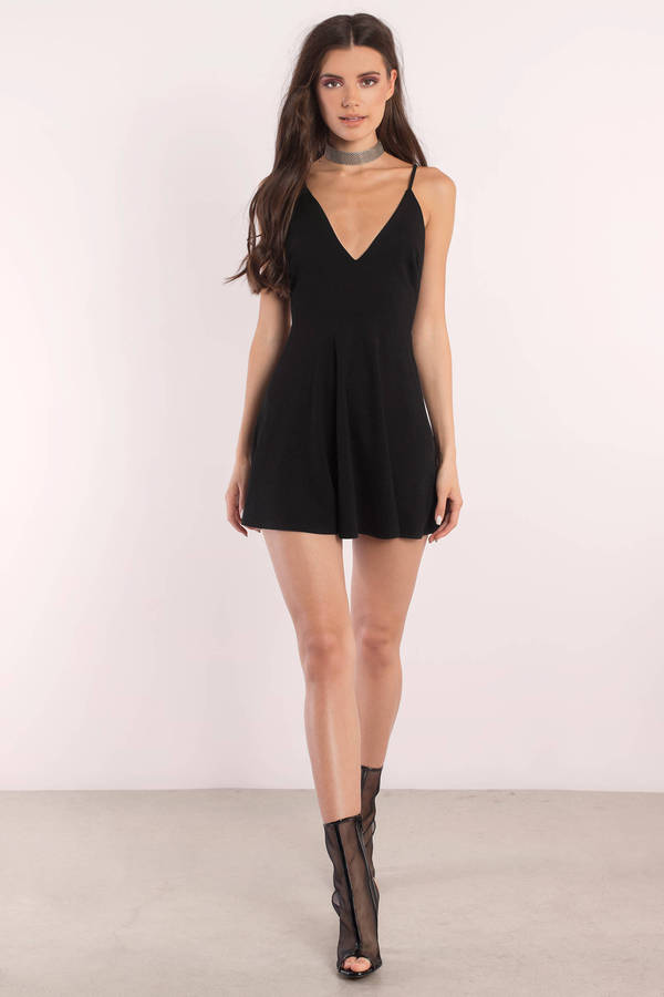 Cute Black Day Dress Deep V Dress Black Dress Day