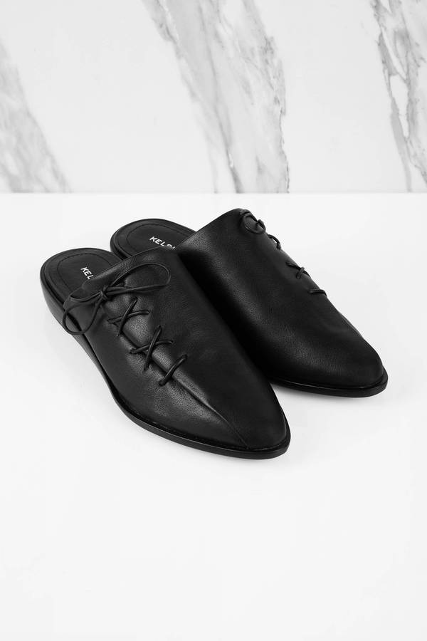 Avenue Leather Lace Up Mules