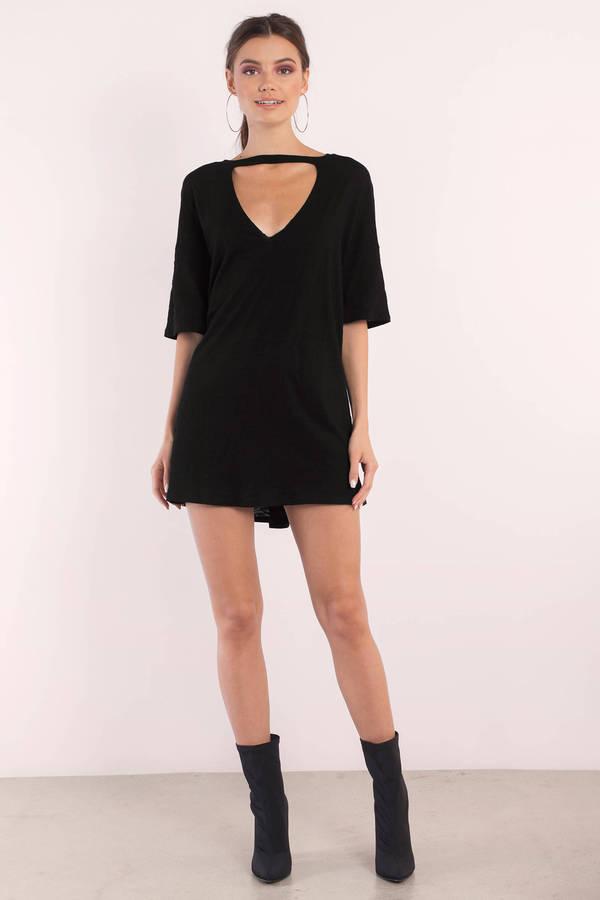 26f60950433 Black Shirt Dress - Choker Dress - Jersey Trapeze Dress - Day Dress ...