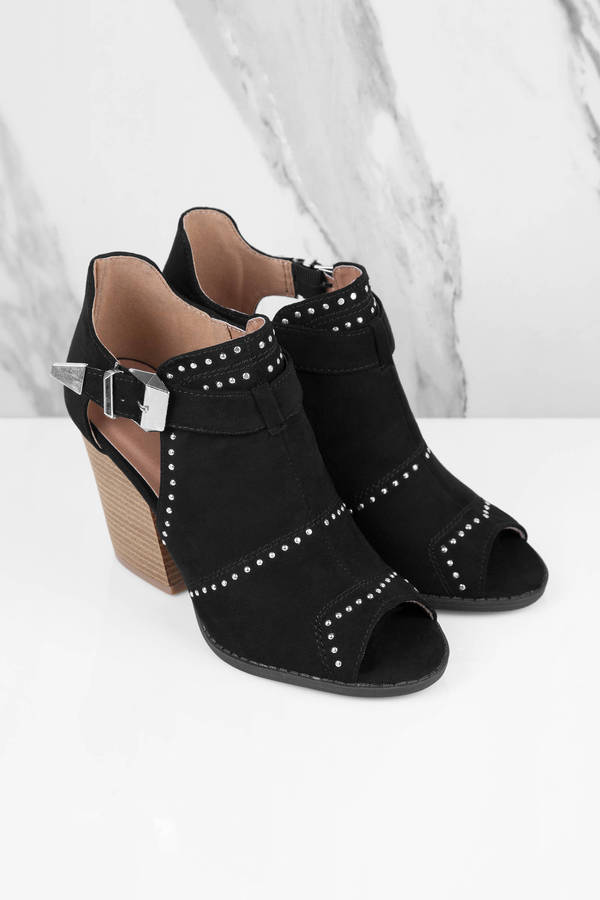 Black Booties Buckle Strap Booties Side Cut Out