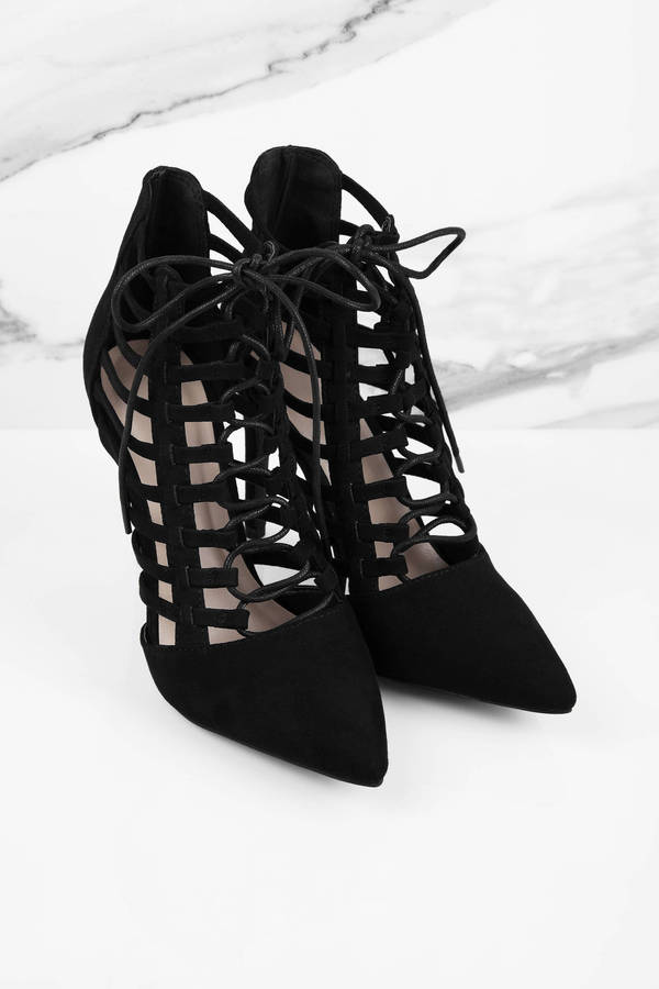 Trendy Black Heels - Black Heels - Lace Up Heels - Black Heels ...