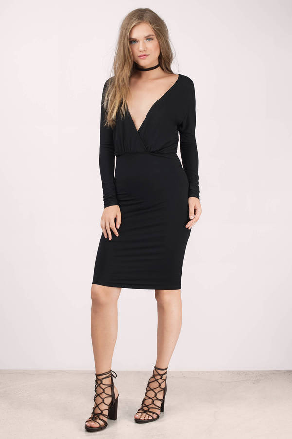 Black Midi Dress Black Dress Long Sleeve Dress Black Midi