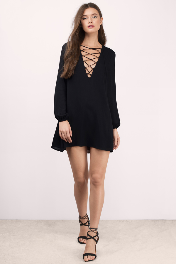Black Shift Dress - Black Dress - Long Sleeve Dress - Black Shift ...