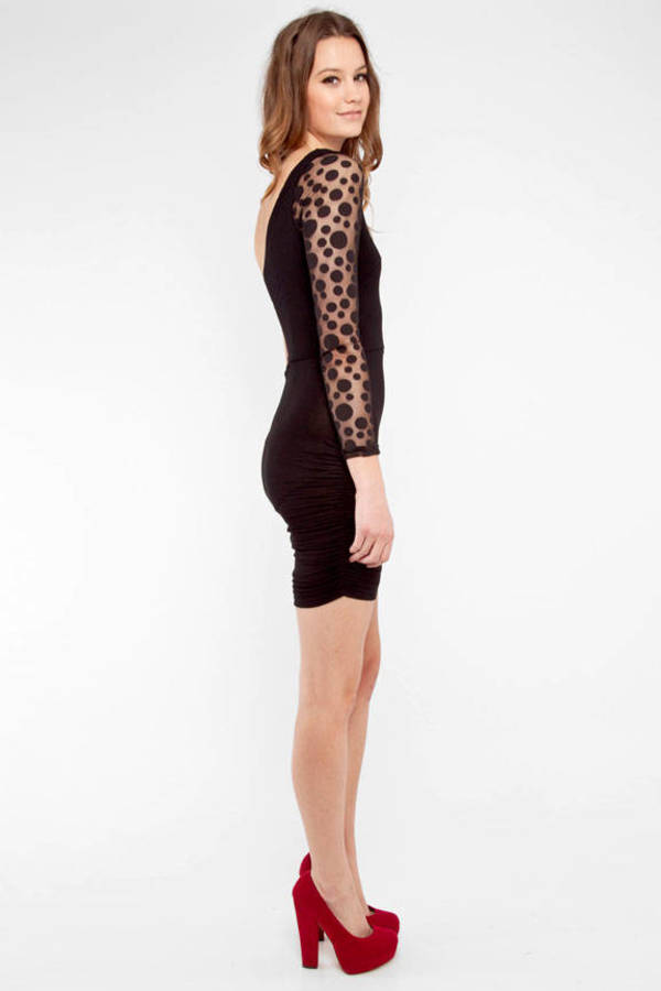 Cameo Bodycon Cutout Dress with Dots