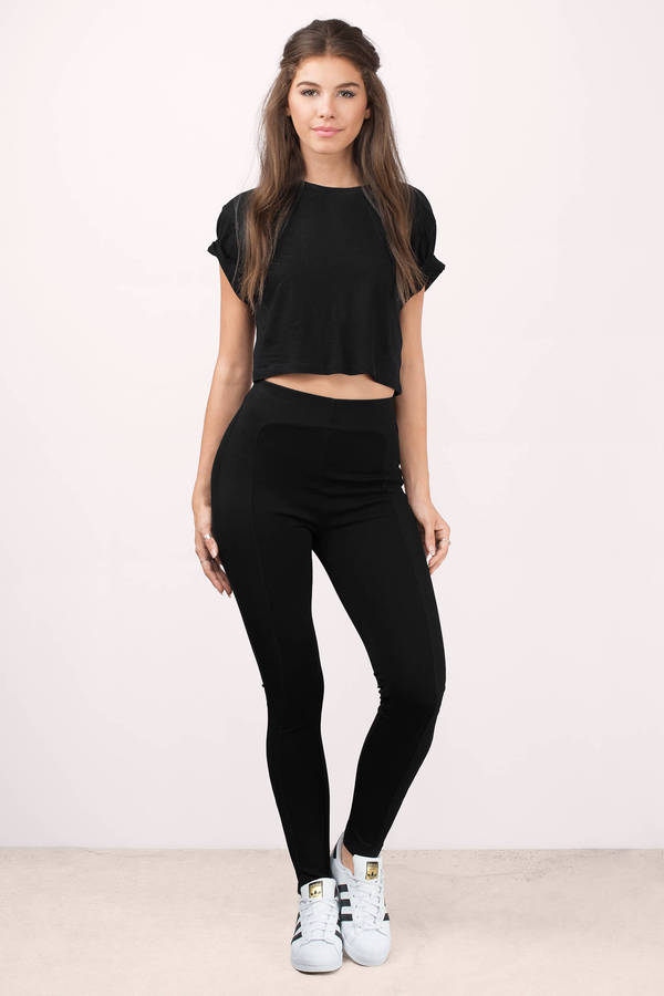 Black Pants - Stretch Pants - Legging Pants - Black Leggings - $36.00