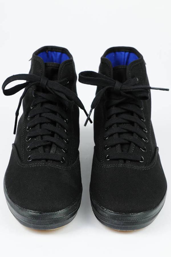 660c7f5ca6067 Trendy Black Keds Sneakers - Hi Top Trainers - Black Tennies -  21 ...