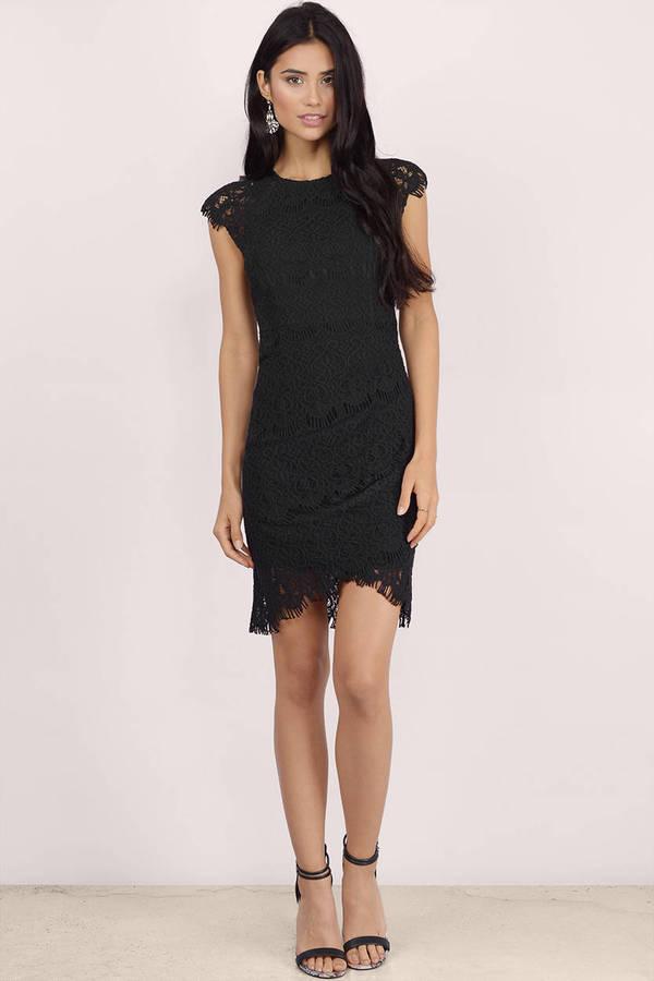 Black Bodycon Dress Lace Mesh Dress Black Lace High