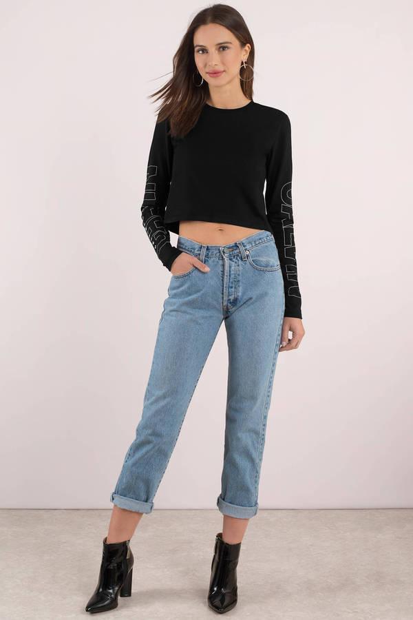 9f8966126390c Black Calvin Klein Tee - Long Sleeve Crop Top - Black Graphic Long ...