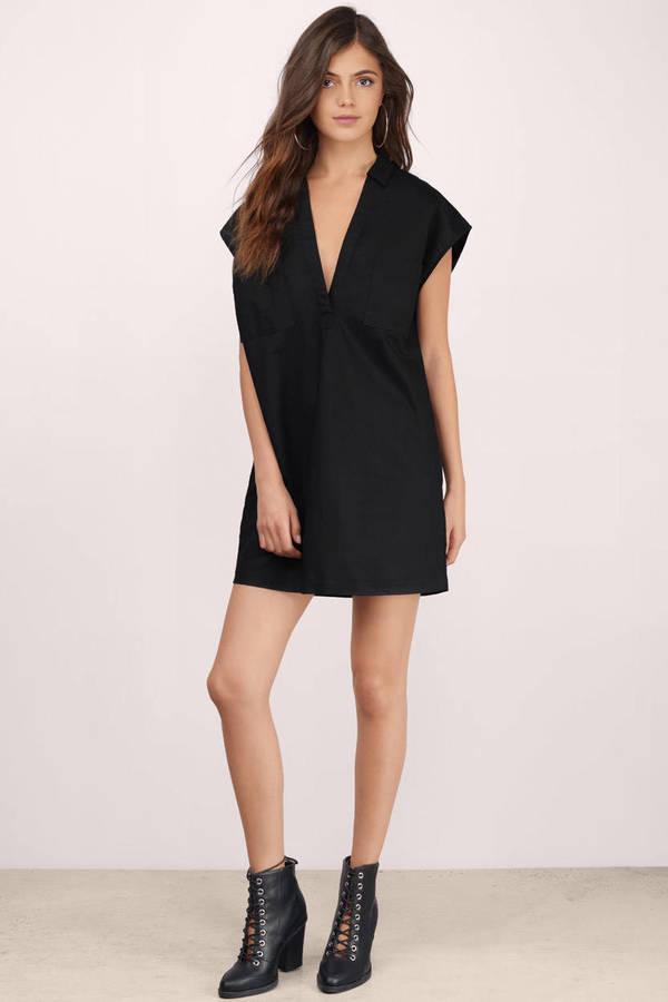 959f7eb53e Cute Black Shift Dress - Black Dress - Deep V Dress - Shift Dress ...