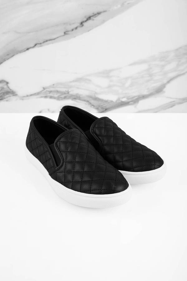 75835ad6b3 ... Steve Madden Steve Madden Ecentrcq Black Leather Quilted Slip On  Sneakers