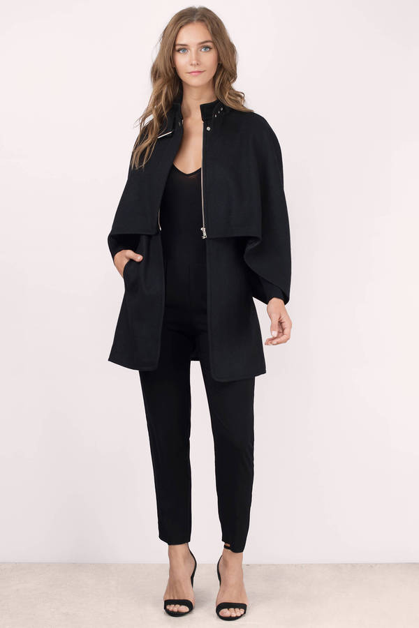 Cheap Black Coat - Black Coat - Cape Coat - Black Coat - $38 | Tobi US