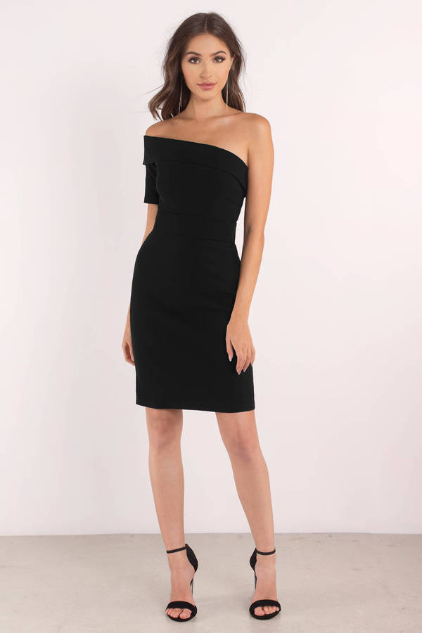chic black dress one shoulder dress polyester bodycon