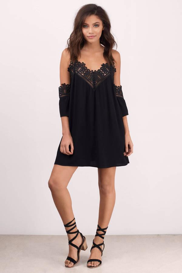 Sexy Black Dress Cold Shoulder Dress Half Lace Dress Shift