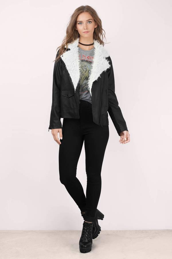 c802db0cc4 Trendy Black Jacket - Moto Jacket - Faux Fur Jacket - Faux Leather ...