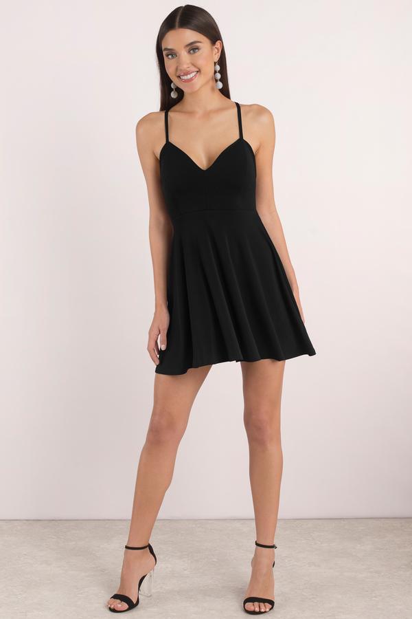Cute Black Skater Dress Tied Back Dress Skater Dress
