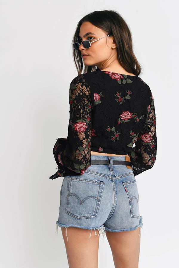 0c6c07c6e8a Trendy Black Crop Top - Lace Up Crop Top - Black Floral Lace Crop ...