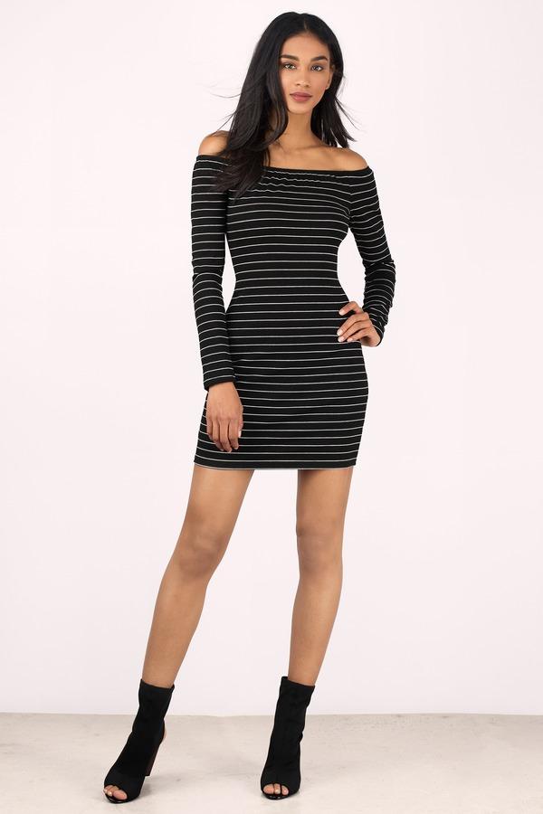dfb57a19ad148 Black Sweater Dress - Long Sleeve Striped Dresses - Bodycon Dress ...
