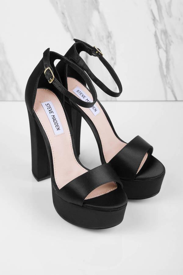 3bc3ccace11b Black Steve Madden Heels - 5 Inch Heels - Black Flat Platform ...